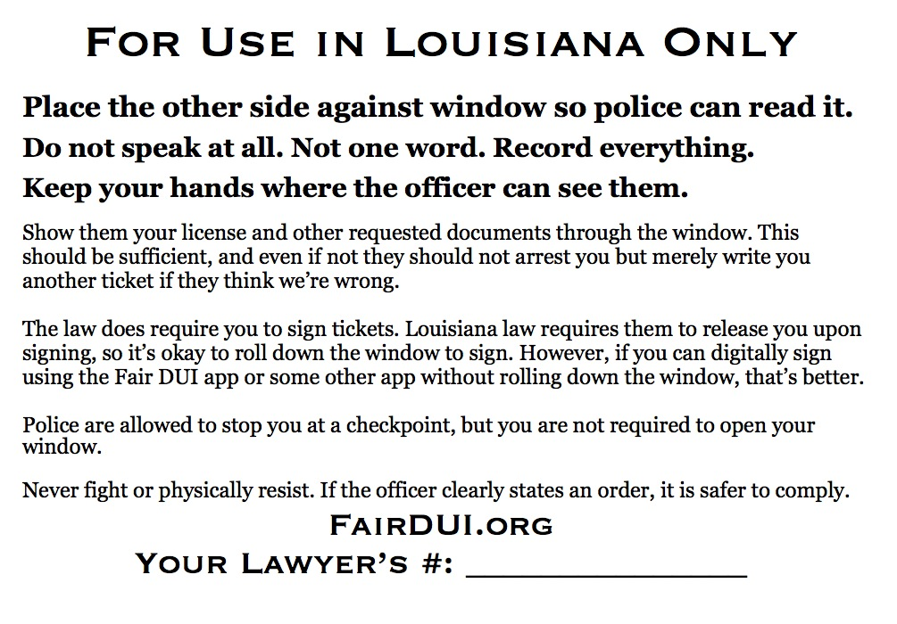 Fair DUI Flyer-Louisiana-back