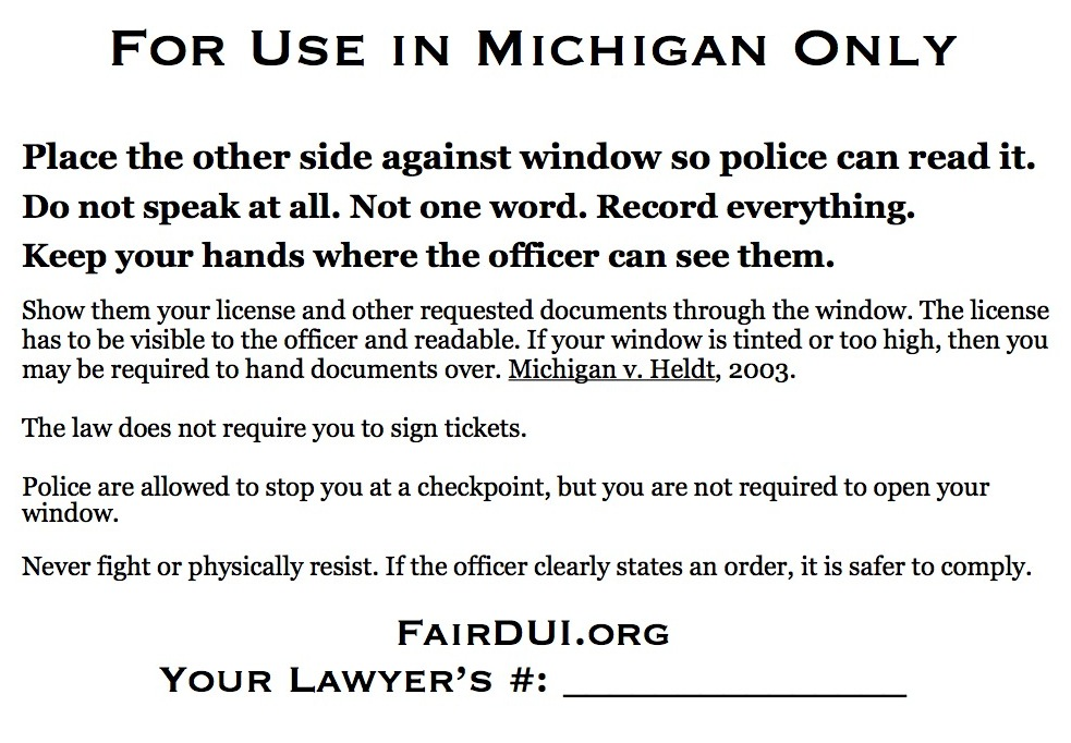 Fair DUI Flyer-Michigan-back
