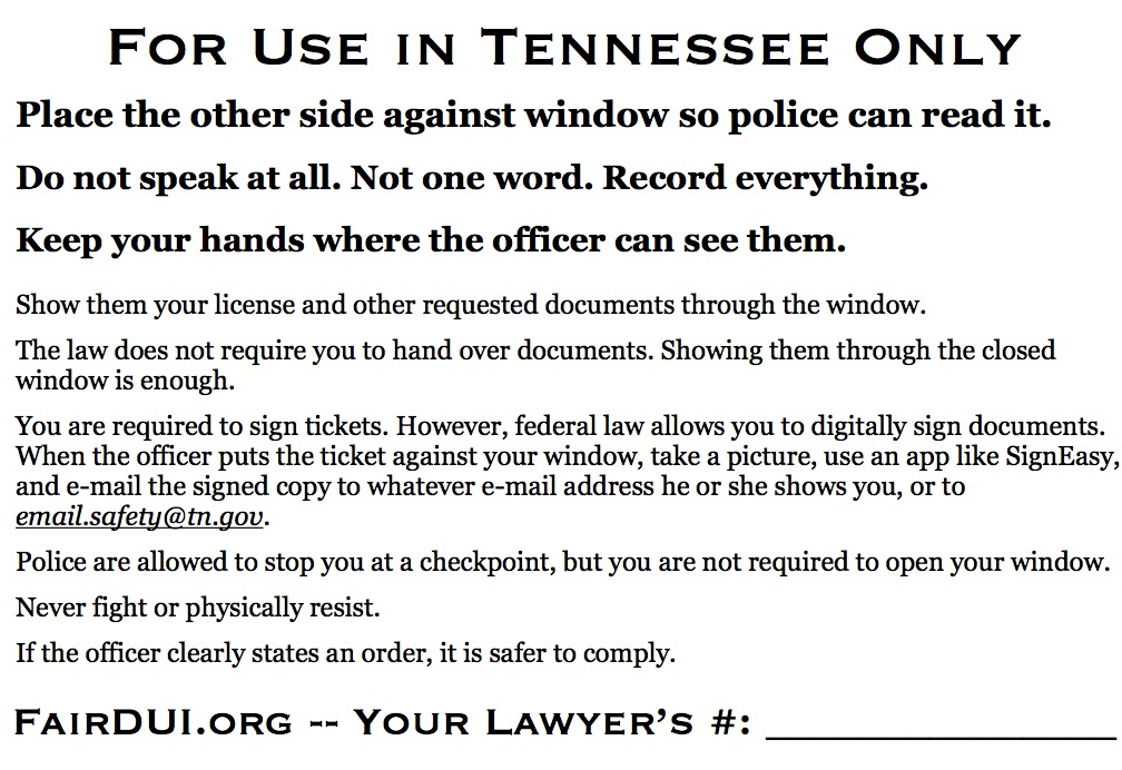 Fair DUI Flyer-Tennessee-back